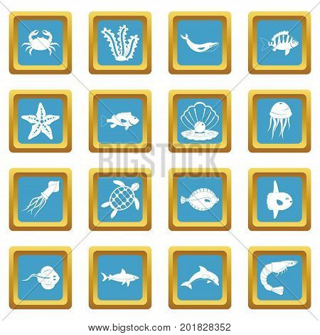 Sea animals icons set in azur color isolated vector illustration for web and any design
