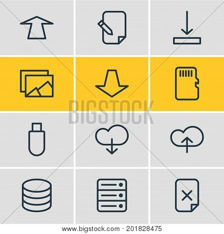 Editable Pack Of Flash Drive, Cloud, Database And Other Elements.  Vector Illustration Of 12 Archive Icons.