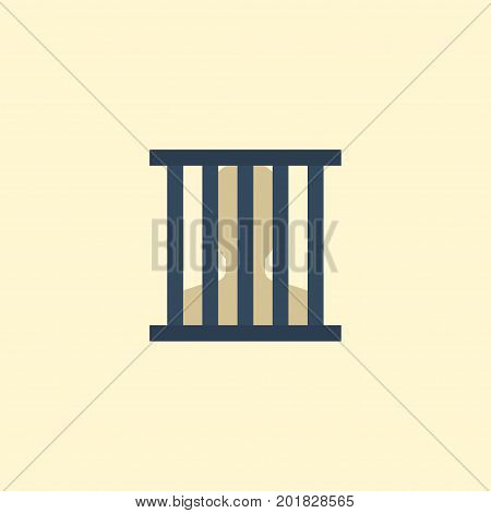 Flat Icon Prison Element. Vector Illustration Of Flat Icon Jail Isolated On Clean Background
