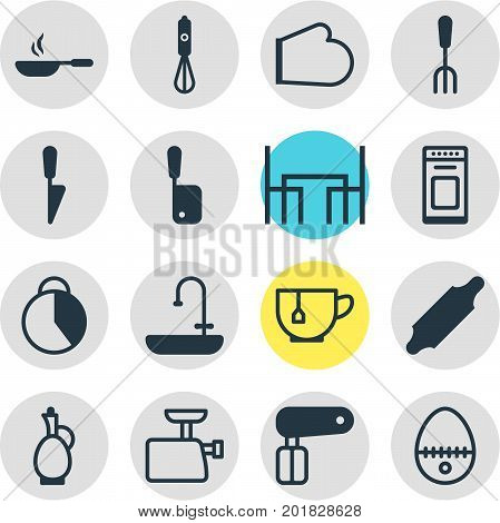 Editable Pack Of Whisk, Mincer, Handmixer Elements.  Vector Illustration Of 16 Kitchenware Icons.
