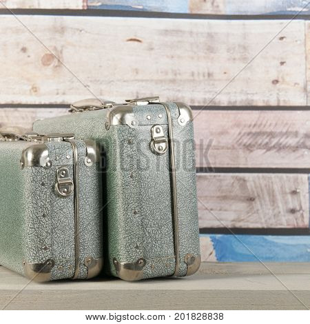 Vintage travel with old suitcases