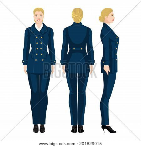 Vector illustration of professional girls in naval formal clothes isolated on white background. Various turns woman's figure. Side view, front and back view. Woman in blue coat in military style.