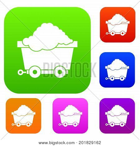 Cart on wheels with coal set icon in different colors isolated vector illustration. Premium collection
