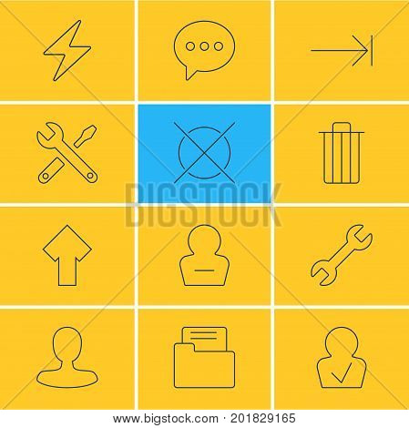 Editable Pack Of Garbage, Tabulation Button, Bolt And Other Elements.  Vector Illustration Of 12 Interface Icons.
