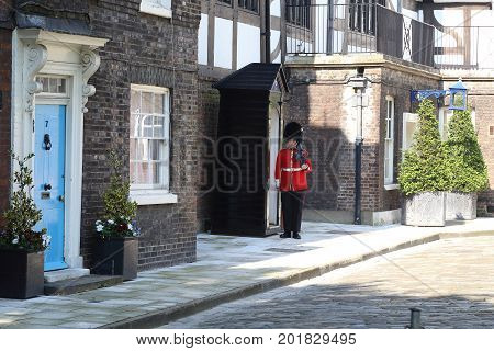 LONDON, GREAT BRITAIN - MAY 16, 2014: This is the guard near the Queen's Lodge in the Tower of London.