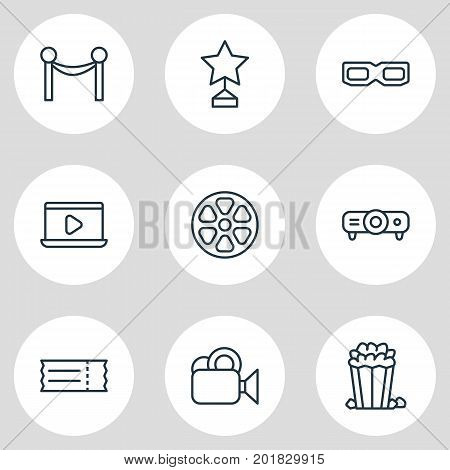 Editable Pack Of Slideshow, Snack, Spectacles And Other Elements.  Vector Illustration Of 9 Movie Icons.