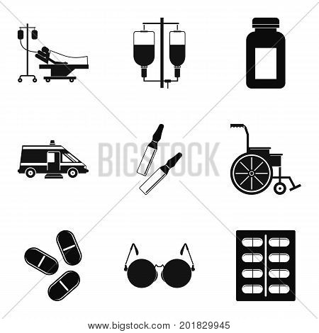 Hurt icons set. Simple set of 9 hurt vector icons for web isolated on white background