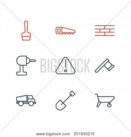 Editable Pack Of Handcart, Paintbrush, Road Sign Elements.  Vector Illustration Of 9 Construction Icons.