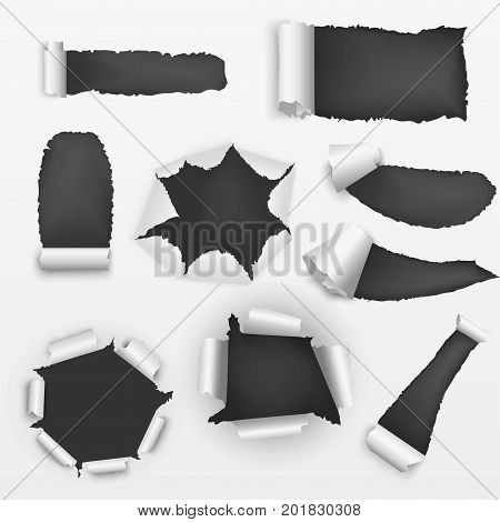 Realistic Detailed Torn Holes Paper on a Background Set Decorative Effect for Web Design. Vector illustration of papers with holes