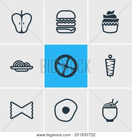 Editable Pack Of Love Apple, Jonagold, Sandwich Elements.  Vector Illustration Of 9 Meal Icons.