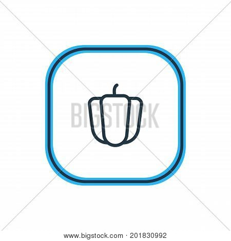 Beautiful Meal Element Also Can Be Used As Bulgarian Bell Element.  Vector Illustration Of Bell Pepper Outline.