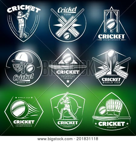 Vintage white cricket labels set with inscriptions players sport equipment wicket cup on blurred stadium background isolated vector illustration