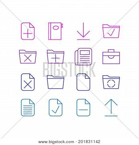 Editable Pack Of Journal, Plus, Approve And Other Elements.  Vector Illustration Of 16 Bureau Icons.