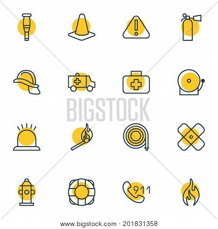 Editable Pack Of Fire, Water, Taper And Other Elements.  Vector Illustration Of 16 Extra Icons.