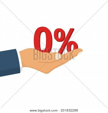 Businessman presenting zero percent. Man holding hand sign percent. Vector illustration flat design. Isolated on white background.
