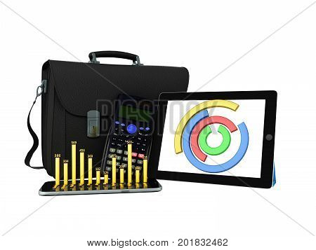 Business Statistics Diagram Tablet Briefcase 3D Rendering On White Background No Shadow