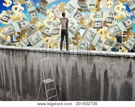 The Concept Of The Pursuit Of Success A Man On Top Of The Wall And Money  3D Render