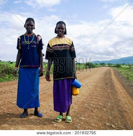 Konso aka Xonsita tribe women in national dress - 03 october 2012 Omo valley Ethiopia