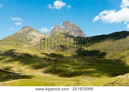 View of mountain the Pic du Midi d'Ossau in the French Pyrenees
