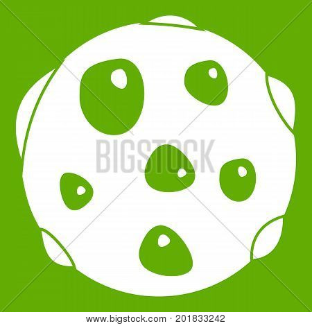 Alone planet icon white isolated on green background. Vector illustration