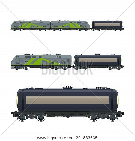 Green Locomotive with Railway Tank Car , Train, Railway and Container Transport, Tank on Railway Platform for Transportation of Liquid and Loose Freights , Vector Illustration