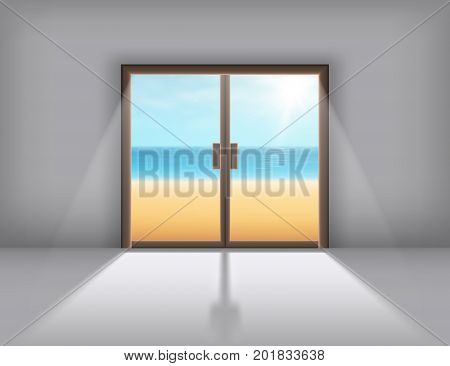 Sliding doors with the outgoing light. Vector.