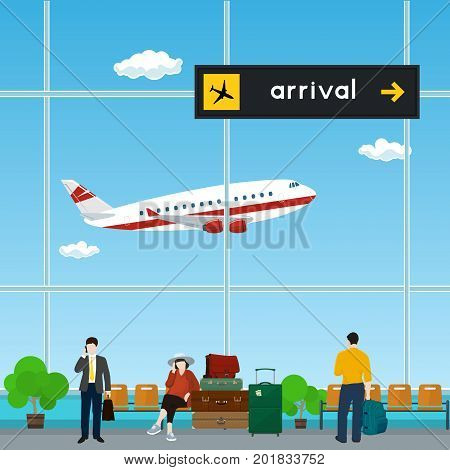 Waiting Room with People at the Airport, View of a Flying Airplane through the Window from a Waiting Room , Scoreboard Arrivals at Airport, Travel Concept, Flat Design, Vector Illustration