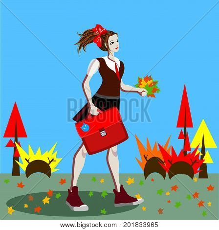 School girl in uniform with ponytails going to school along the road with marple leaves. Vector illustration