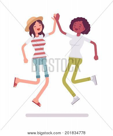 Young women jumping giving high five. People having a vibrant social life. Human interaction concept. Vector flat style cartoon illustration, isolated, white background