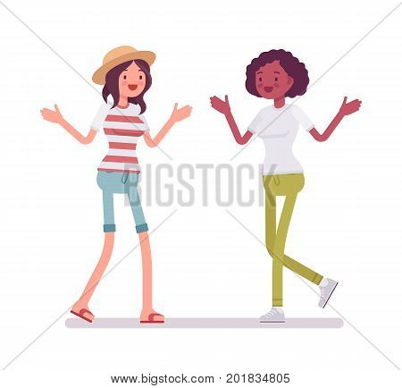 Young women meeting. Mutual trust, attachment and common interests in social activity. Human interaction concept. Vector flat style cartoon illustration, isolated, white background