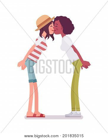 Young women exchanging kisses. Close and important relationship, mutual affection between people. Human interaction concept. Vector flat style cartoon illustration, isolated, white background