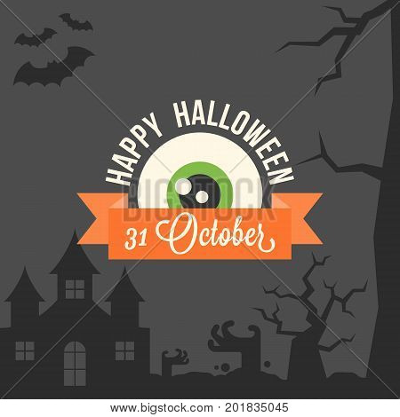 Happy halloween typographic with 31 october calligraphic and eye ball, flat design vector with abandon castle, zombie hand, bat, creepy tree on black background
