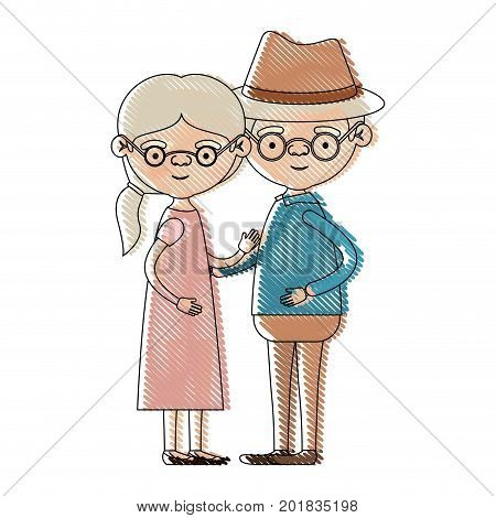 color crayon silhouette of full body couple elderly of grandmother with ponytail side hair in dress with grandfather with hat and glasses vector illustration