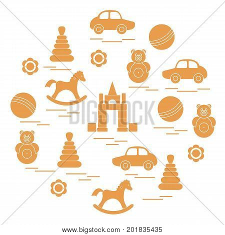 Vector illustration kids elements arranged in a circle: car pyramid roly-poly ball cubes rocking horse rattle. Design element for postcard banner flyer poster or print.