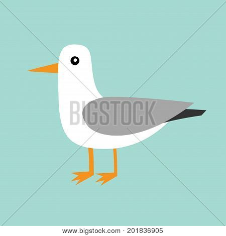 Antarctica albatross icon. Petrel Seagull wandering royal bird. Arctic animal collection. Cute cartoon baby character. Winter blue background. Isolated. Flat design. Vector illustration