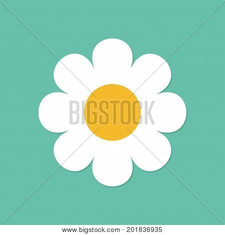 Camomile icon. White daisy chamomile. Cute round flower plant collection. Love card symbol. Growing concept. Flat design. Green background. Isolated. Vector illustration