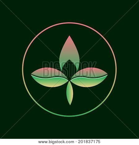 Three leaf gradient logo. Abstract eco logotype concept of branding. Two color triple leaf and tree symbol. Vector illustration on isolated dark background. Floral, ecologic and biologic concept.