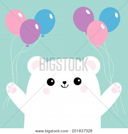 Polar white small little bear cub holding round balloon set. Cute cartoon baby character. Arctic animal collection. Flat design Blue background Isolated. Vector illustration
