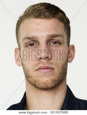 Adult Man Serene Face Expression Studio Portrait