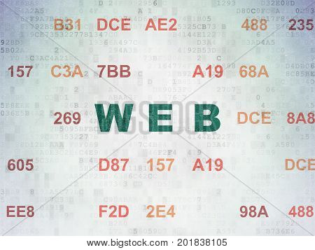 Web development concept: Painted green text Web on Digital Data Paper background with Hexadecimal Code