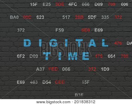 Timeline concept: Painted blue text Digital Time on Black Brick wall background with Hexadecimal Code