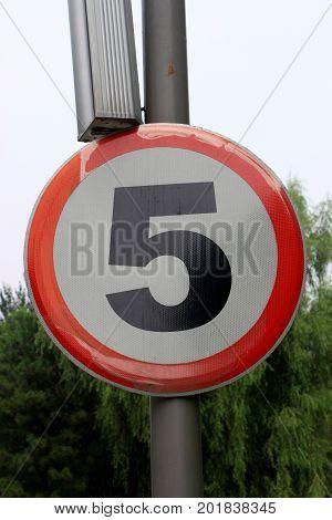 Speed Limit Zone Warning Road Sign, Isolated Prohibitive 5 Km Kilometer