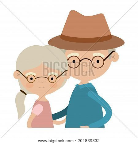 light color silhouette of half body couple elderly of grandmother with ponytail side hair with grandfather with hat and glasses vector illustration