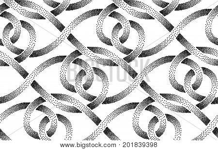 Seamless pattern of stippled ribbons. Vector illustration.