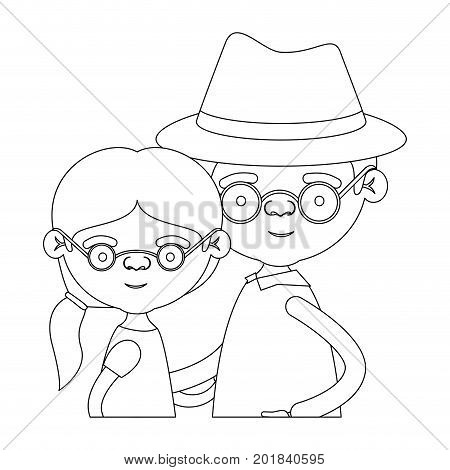 sketch silhouette of half body couple elderly of grandmother with ponytail side hair with grandfather with hat and glasses vector illustration