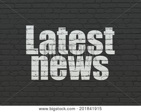 News concept: Painted white text Latest News on Black Brick wall background