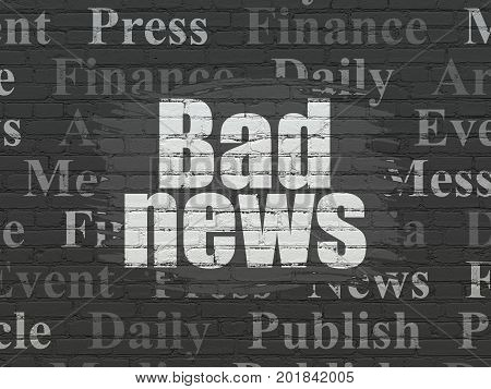 News concept: Painted white text Bad News on Black Brick wall background with  Tag Cloud