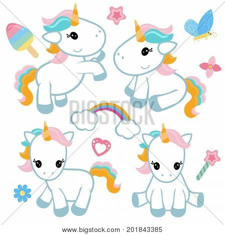 Collection cartoon unicorns. Birthday party elements. White background.