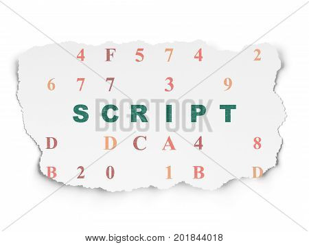 Programming concept: Painted green text Script on Torn Paper background with  Hexadecimal Code