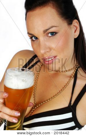 Busty Brunette With Beer